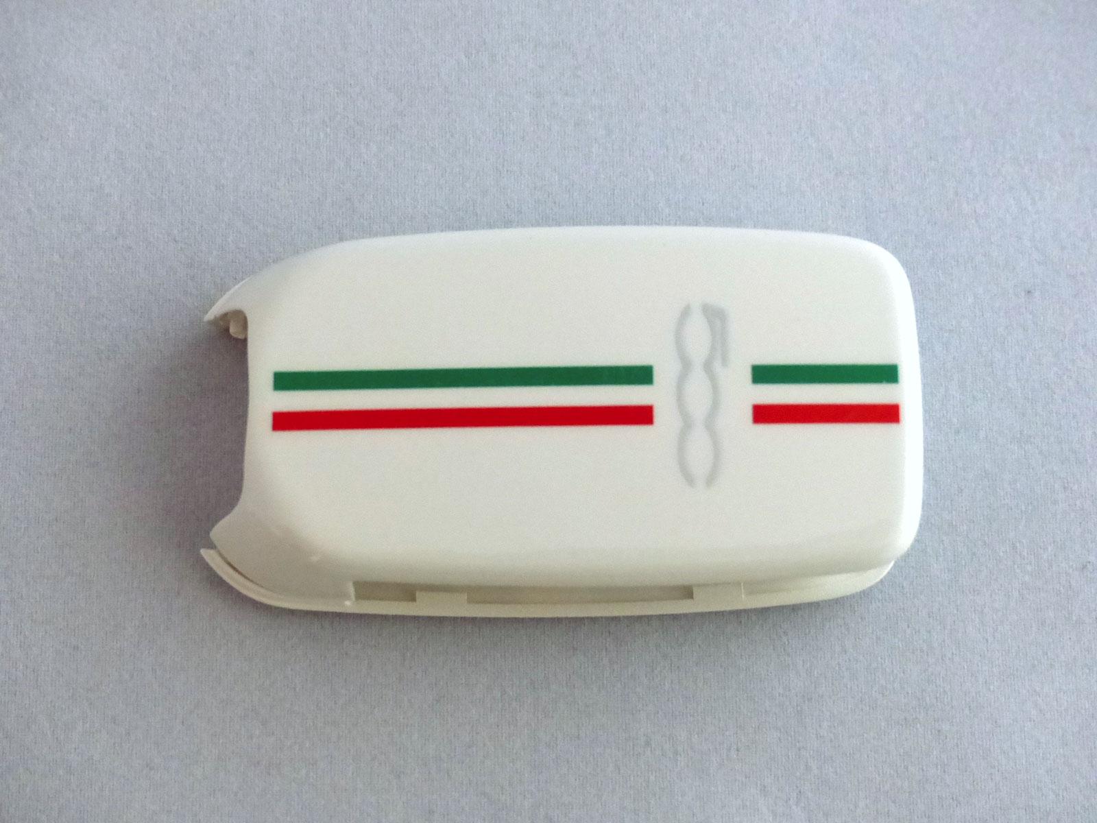 1x Schlüsselschale Schlüsselcover Fiat 500X Aufdruck 500 weiß Italienflagge