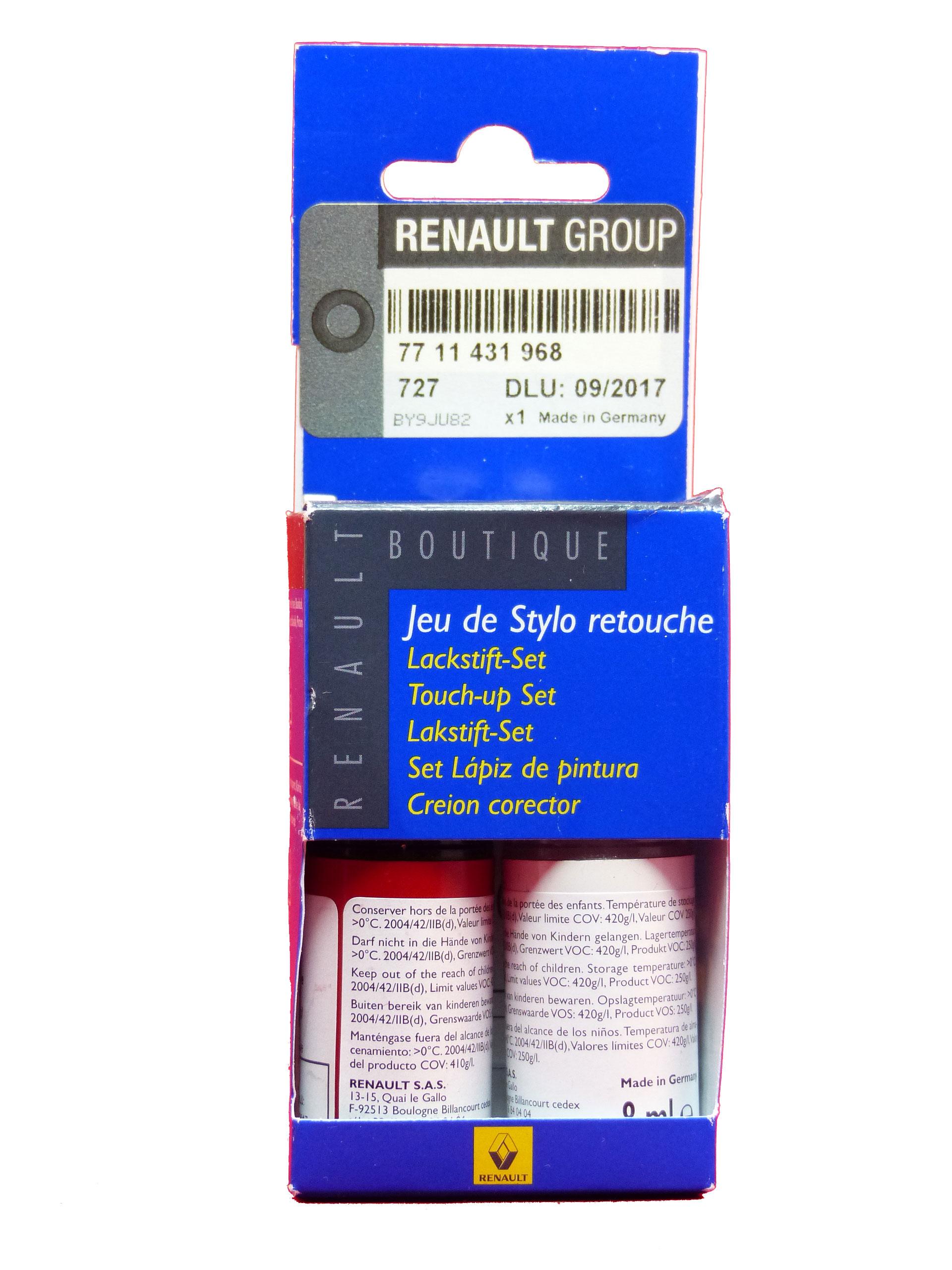 Renault Dacia Lackstift Set Basislack Klarlack Spanisch Rot 727 Lackreparatur