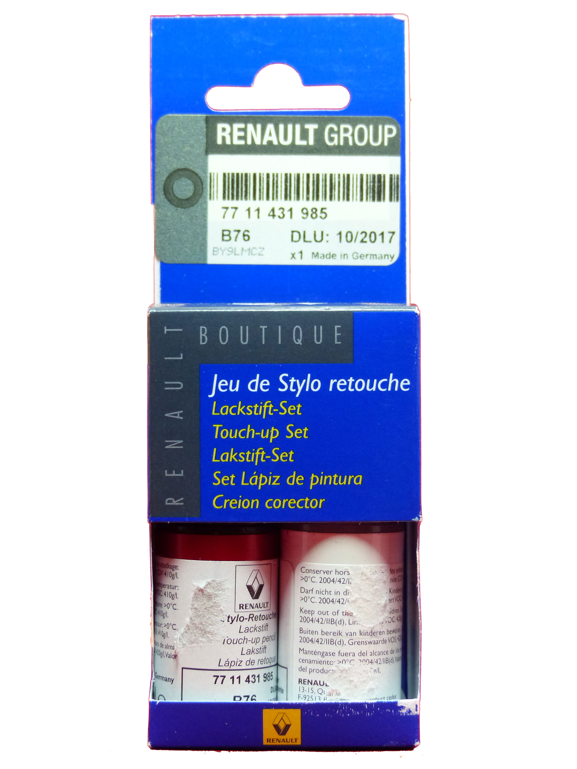 Renault Dacia Lackstift Set Basislack Klarlack Flammen Rot B76 Lackreparatur